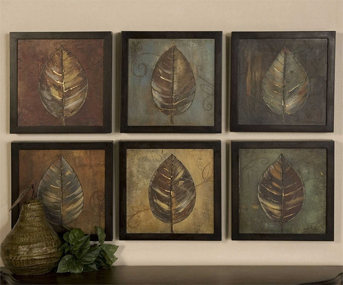 New Leaf Panels Set/6 - Oil Reproduction Artwork a Paintings by Uttermost