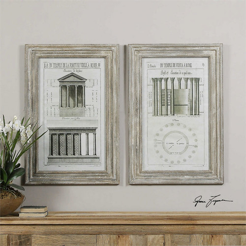 Temples of Rome Set/2 - Framed Artwork