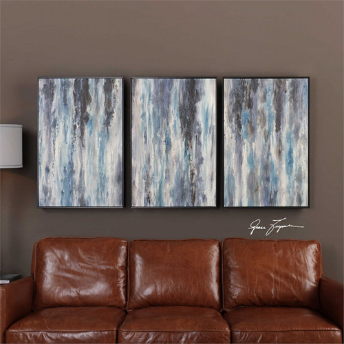 Blu Times Set/3 - Hand Painted Artwork a Paintings by Uttermost