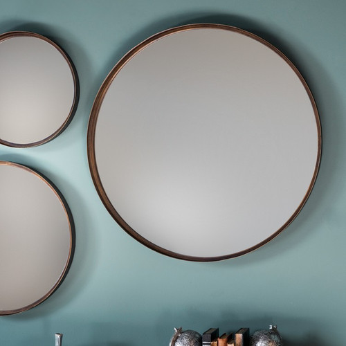 """Reading Round Mirror 24"""" with metal frame"""