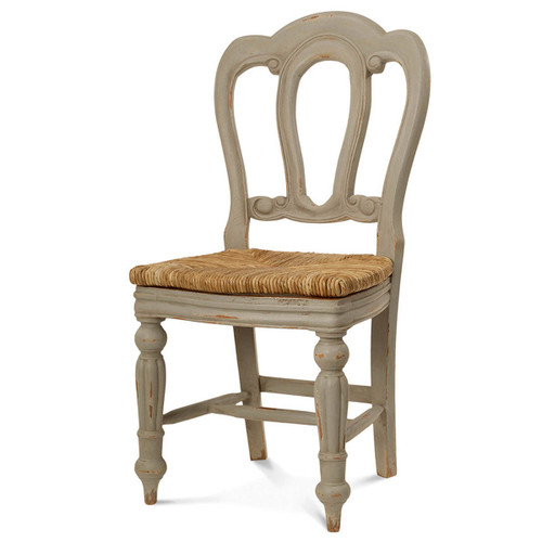 Napoleon Dining Chair w/ Rush Seat w/ Back Carving - Size: 97H x 50W x 54D (cm)