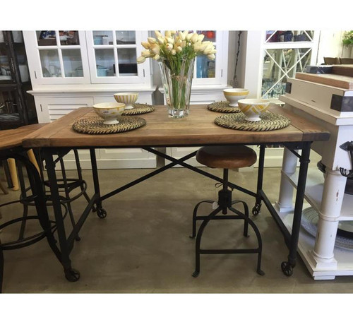 Mercantile Desk Small - Midnight Iron, Vintage Birch (top) with wood distressing