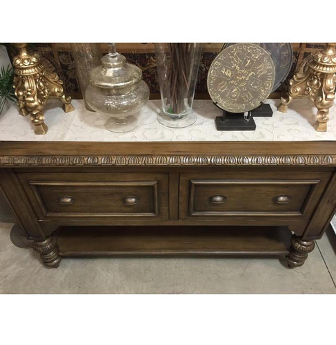 Charleston 2 Drawer Sideboard - Antique Oak with Antiquing