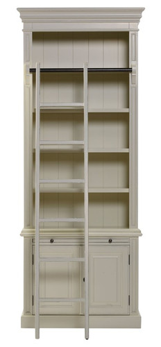 Classic 2 Door Bookcase + Ladder - Antique White