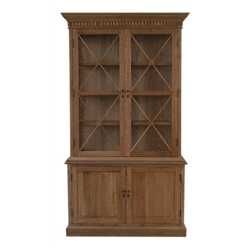 French Cross 2 Door Sideboard & Hutch - Natural Oak