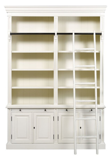 Classic 4 Door Bookcase + Ladder - Antique White