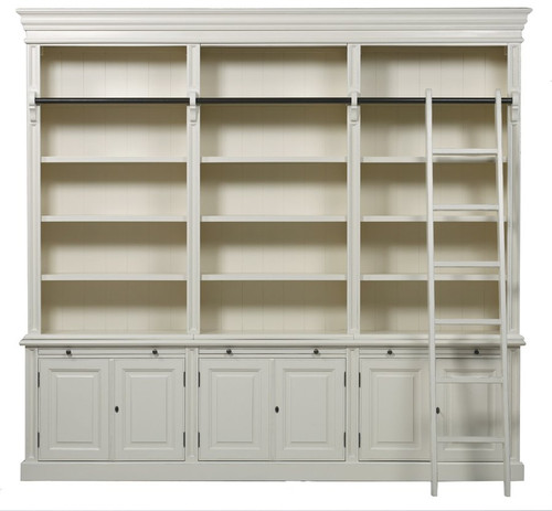 Classic 6 Door Bookcase + Ladder - Antique White