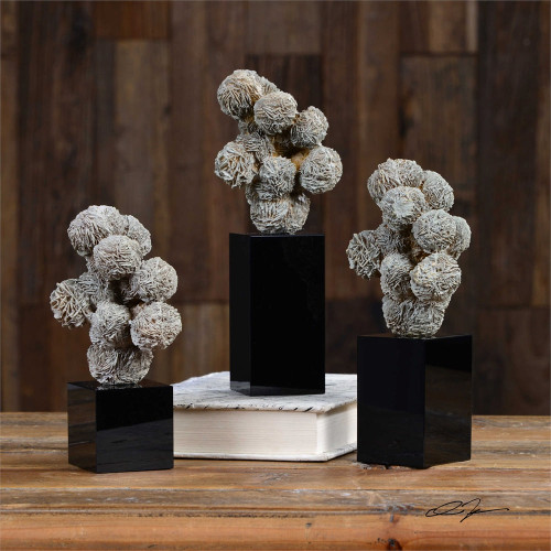 Gypsum Desert Rose Sculpture Set/3