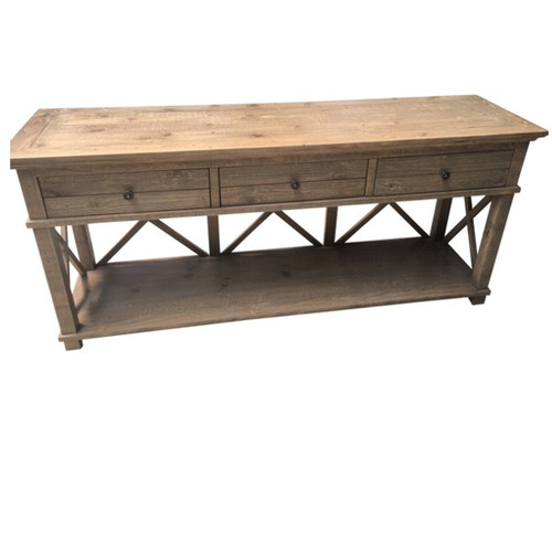 Hamptons Cross Console Table 3 Drawer - Natural  Weathered Pine