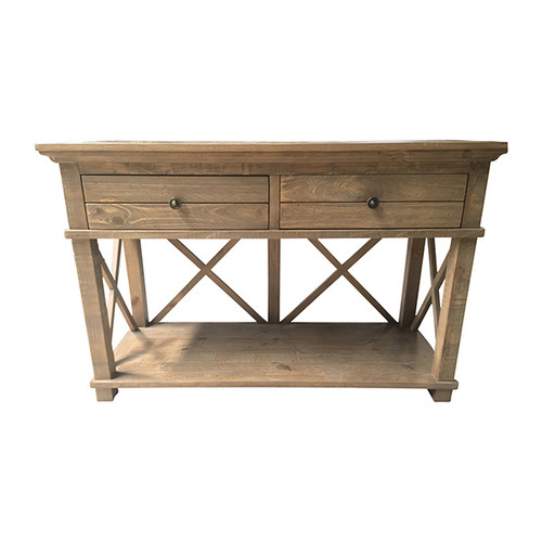 Hamptons Cross Console Table 2 Drawer - Natural