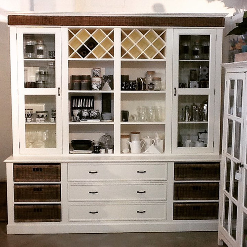 Sorrento Buffet & Hutch - Antique White with Rattan - Hamptons style