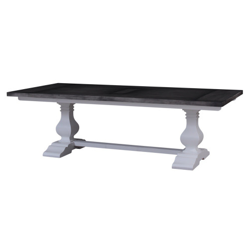 Provincial Trestle Dining Table (Wide) 240 x 120cm - Arch White/Dior Grey