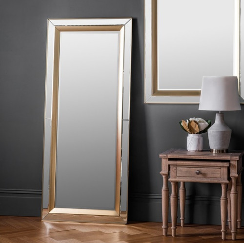 Leaner mirror with gold inlay