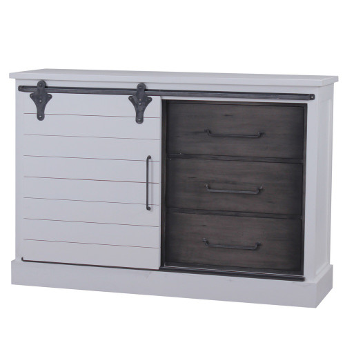 Sonoma Buffet with Sliding Door - Architectural White & Dior Grey