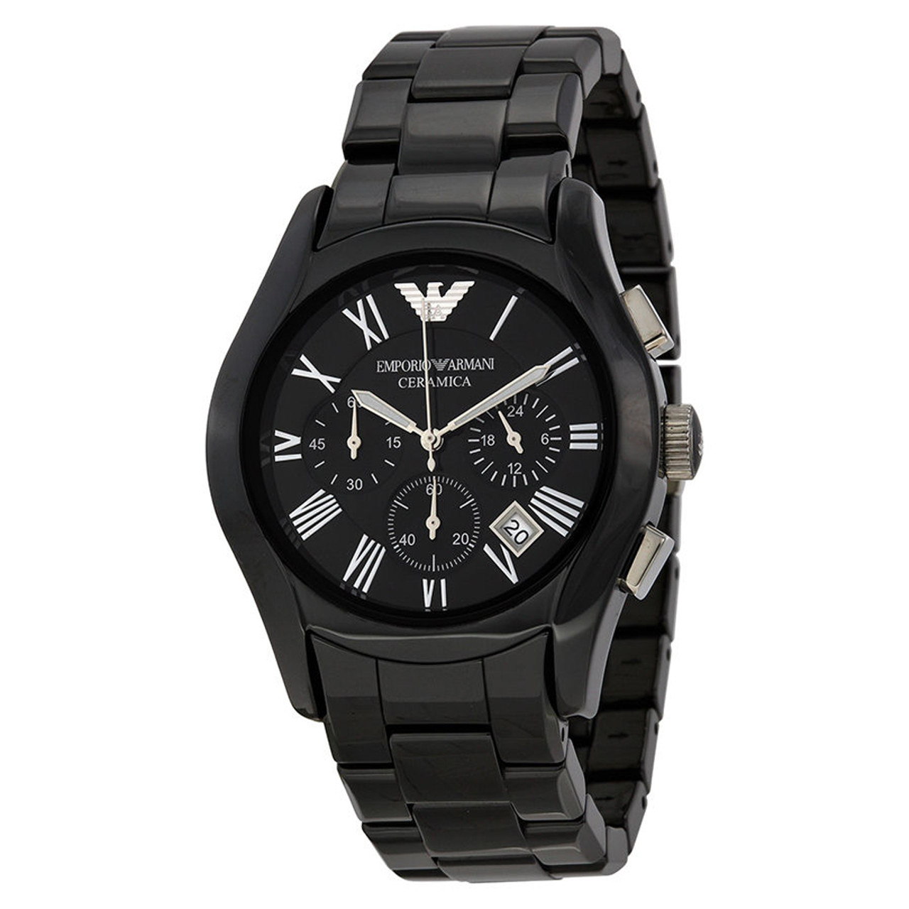 Emporio armani ar1400 black ceramic chronograph mens watch the royal gift inc for Ceramic man watch
