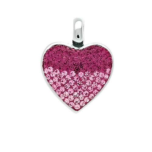 Sterling Silver 925 Purple and Pink Crystal Ferido Heart Pendant