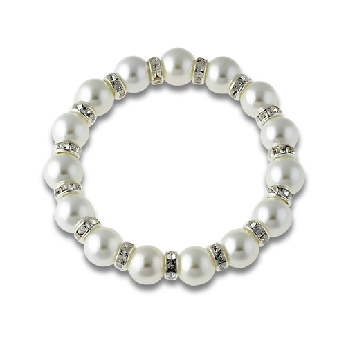 Faux White Pearl and Crystal Stretch Bracelet