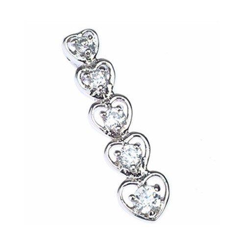 Sterling Silver 925 Journey of Love CZ Heart Pendant