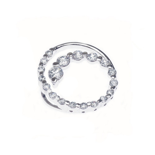 Sterling Silver 925 Journey of Love Twisted Circle CZ  Pendant