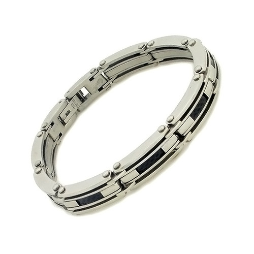 Stainless Steel and Black Rubber Weave-Look Link Bracelet
