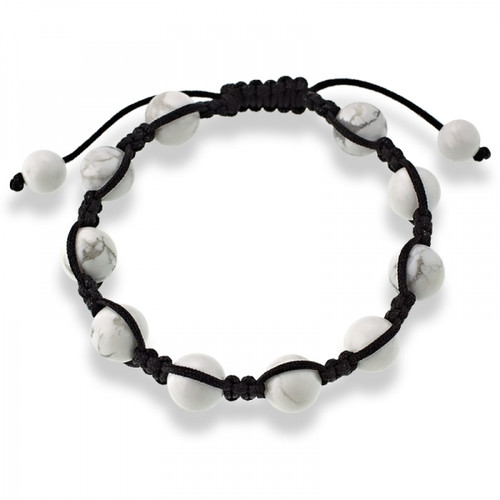 10mm White Howlite Beads on a Black Macrame Adjustable Bracelet