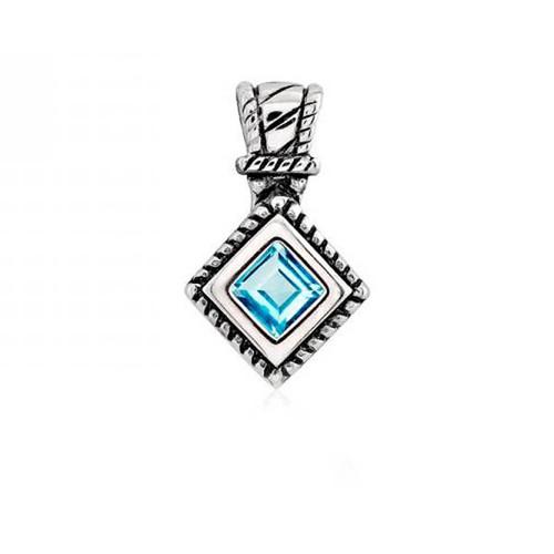 Sterling Silver 925 Designed Blue Topaz Gemstone Pendant