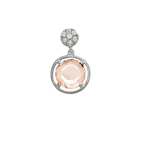 Sterling Silver 925 Champagne and White CZ Pendant