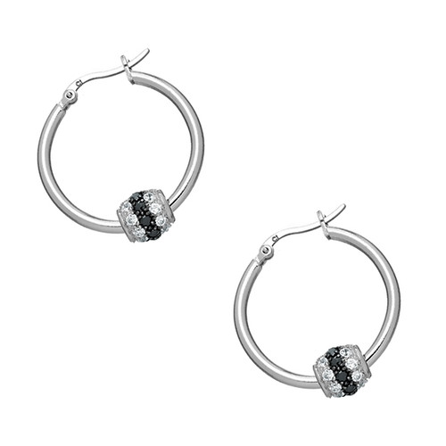 Sterling Silver 925 Black and White CZ Ball Hoop Earrings