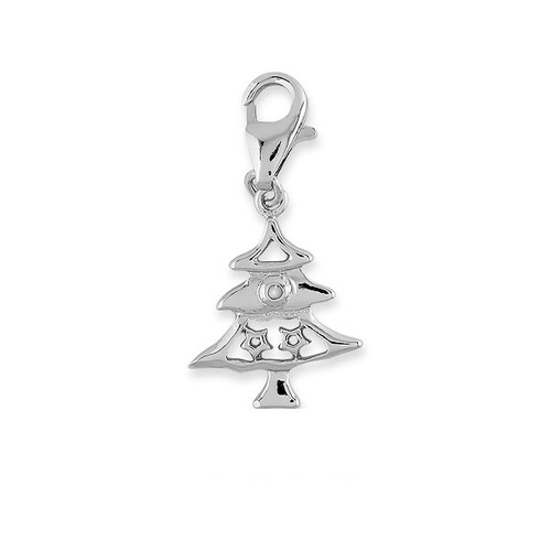 Sterling Silver 925 Holiday Christmas Tree Charm with Lobster Lock