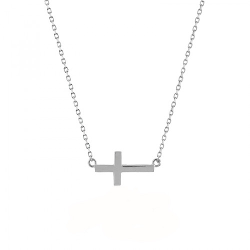 Sterling Silver 925 Rhodium Plated Small Sideways Cross Adjustable Necklace