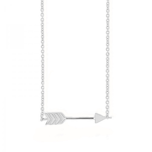 Sterling Silver 925 Rhodium Plated Arrow Adjustable Necklace
