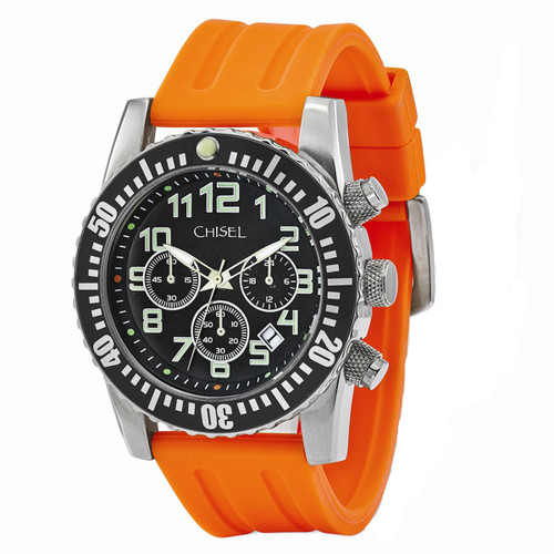 Chisel Chronograph Quartz with Date Orange Silicone Mens Watch TPW109
