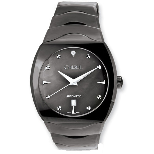Chisel Black MOP CZ Dial Swiss Automatic with Date Tungsten Mens Watch TPW75