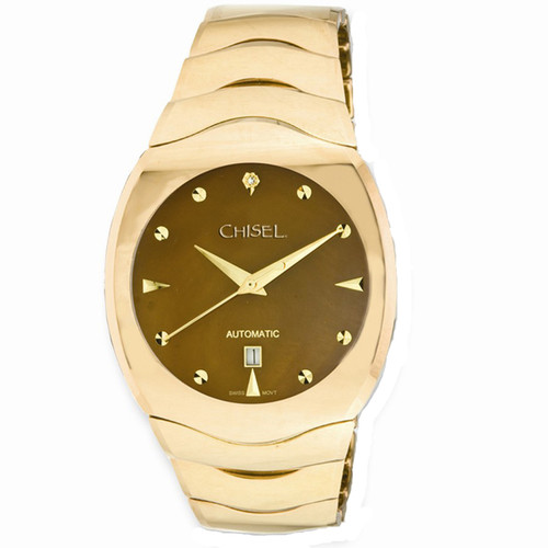 Chisel Champagne MOP CZ Dial Swiss Automatic with Date Tungsten Mens Watch TPW76