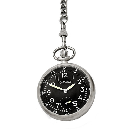Chisel Black Dial Mechanical Mens Pocket Watch TPW88
