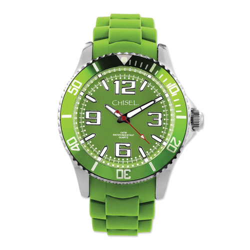 Chisel Green Dial with Unidirectional Bezel Silicone Mens Watch TPW80