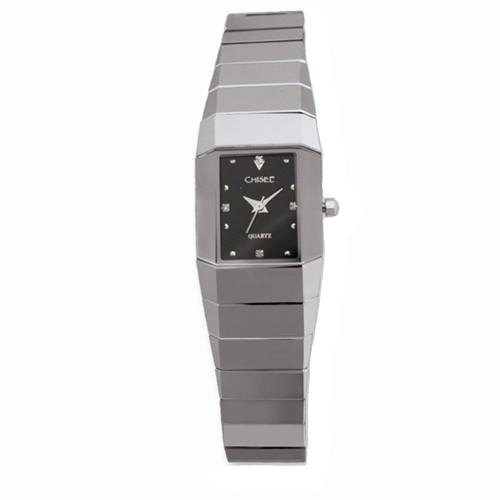 Chisel Black Dial CZ Swiss Quartz Tungsten Womens Watch TPW41