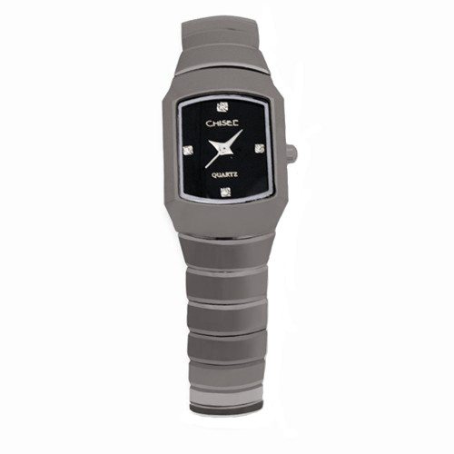 Chisel Black CZ Dial Swiss Quartz Tungsten Womens Watch TPW45