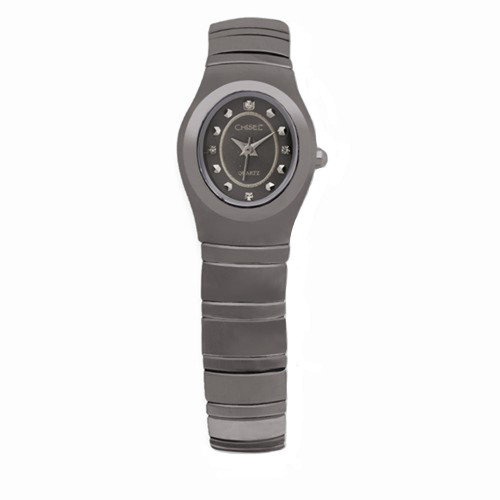 Chisel Black Dial with CZ Accents Swiss Quartz Tungsten Womens Watch TPW46