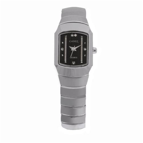 Chisel Black Dial with CZ Swiss Quartz Tungsten Womens Watch TPW29