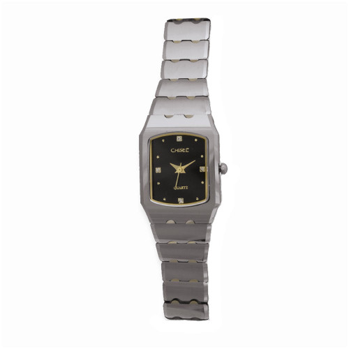 Chisel Black Dial with CZ Markers Swiss Quartz Tungsten Womens Watch TPW24