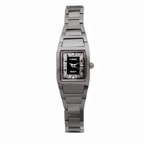 Chisel Black and Silvertone Dial Swiss Quartz Tungsten Womens Watch TPW36