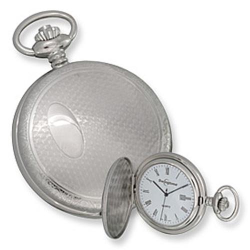 Swingtime Engravable Chrome Brass Swiss Quartz Date Pocket Watch XWA2777