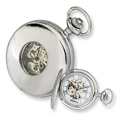 Swingtime Engravable Stainless Steel Skeleton Mechanical Mens Pocket Watch