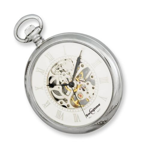 Swingtime Chrome Brass Mechanical Open Face Mens Pocket Watch