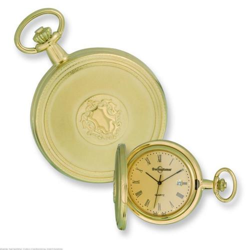 Swingtime Engravable Gold-tone Brass Swiss Quartz Date Mens Pocket Watch