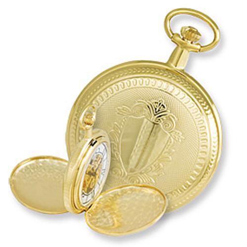 Swingtime Engravable Goldtone Brass Double Cover Mechanical Mens Pocket Watch