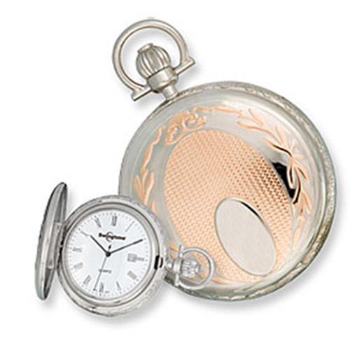 Swingtime  Engravable Two-Tone Brass Swiss Quartz Date Mens Pocket Watch