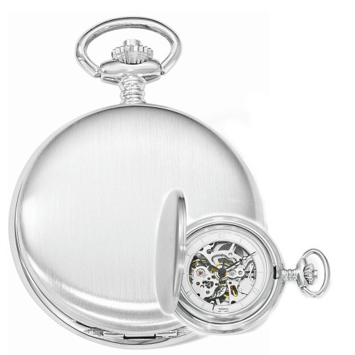 Swingtime Engravable Chrome Brass Wind Up Mechanical Mens Pocket Watch