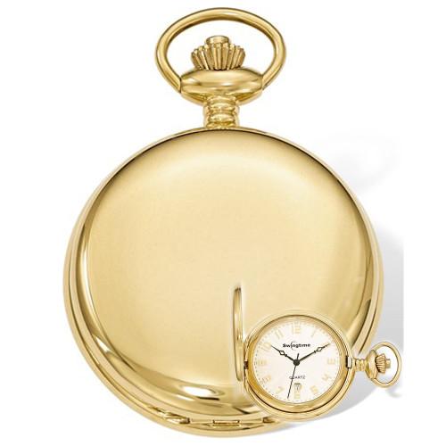 Swingtime Engravable Goldtone Stainless Steel Quartz Date Pocket Watch